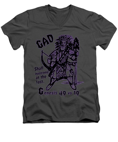 Gad At The Last-purple Trim Men's V-Neck T-Shirt