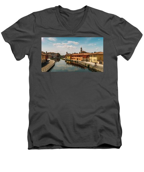 Gaggiano On The Naviglio Grande Canal, Italy Men's V-Neck T-Shirt