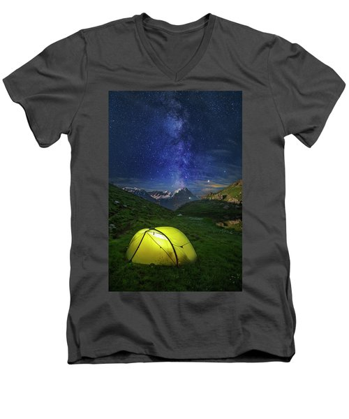 Galactic Eruption Men's V-Neck T-Shirt