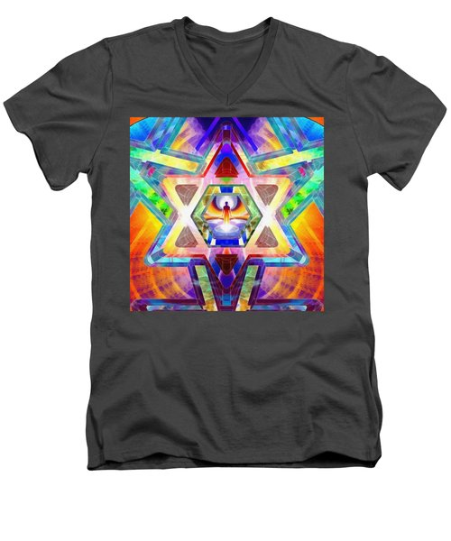 Men's V-Neck T-Shirt featuring the digital art Galactic Salon by Derek Gedney