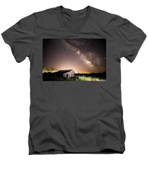 Men's V-Neck T-Shirt featuring the photograph Galaxy In Star Valley by Wesley Aston
