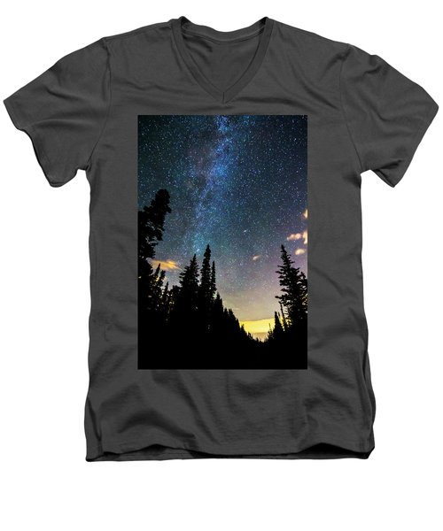 Men's V-Neck T-Shirt featuring the photograph  Galaxy Rising by James BO Insogna