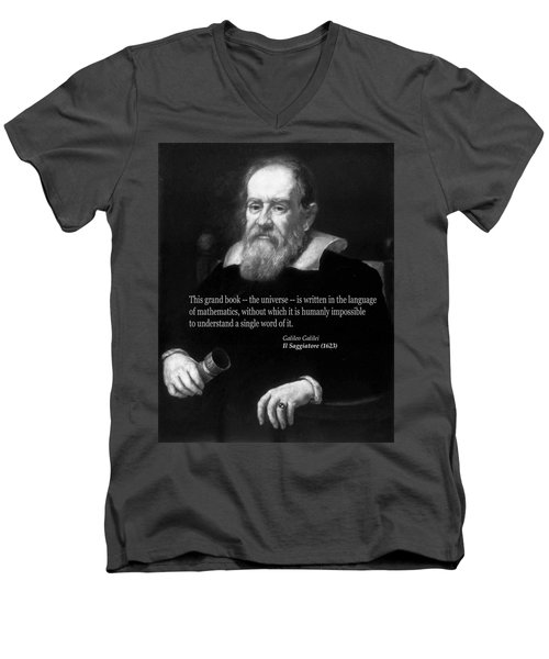 Galileo On Mathematics Bw Men's V-Neck T-Shirt