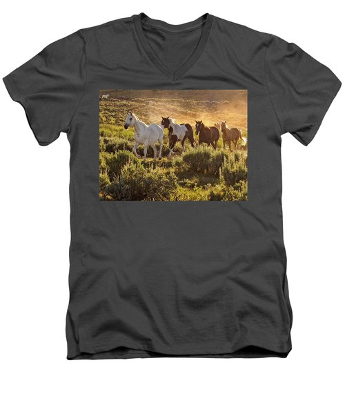 Galloping Down The Mountain Men's V-Neck T-Shirt