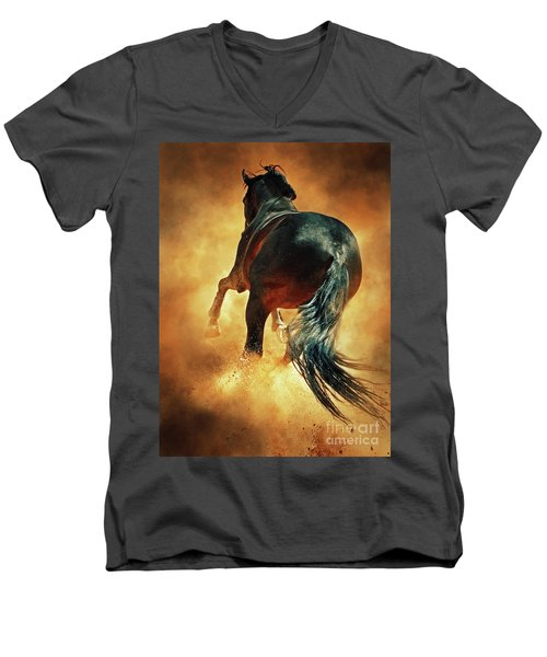 Galloping Horse In Fire Dust Men's V-Neck T-Shirt