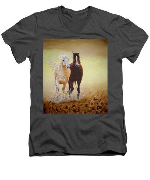 Galloping Horses Men's V-Neck T-Shirt