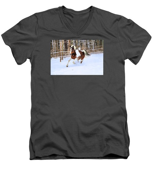 Galloping In The Snow Men's V-Neck T-Shirt by Elizabeth Dow