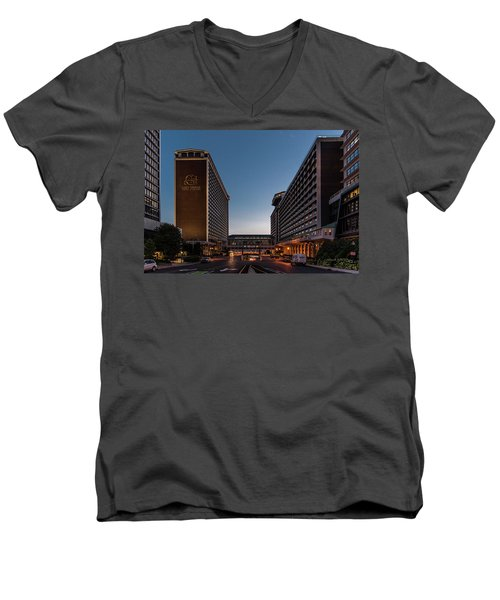 Men's V-Neck T-Shirt featuring the photograph Galt House Hotel And Suites by Randy Scherkenbach