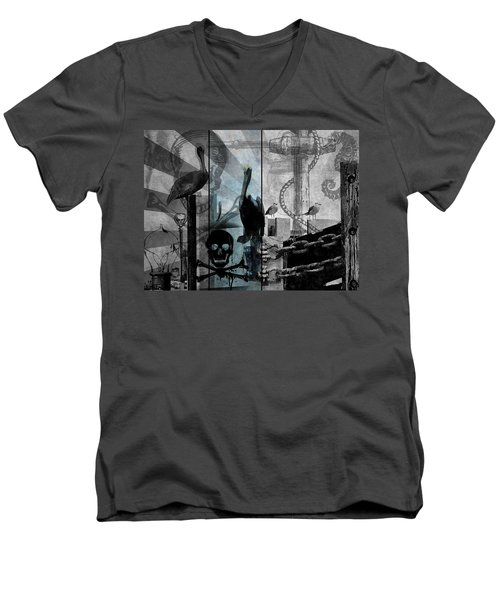 Galveston - Home To Pirates And Pelicans Men's V-Neck T-Shirt by Karl Reid