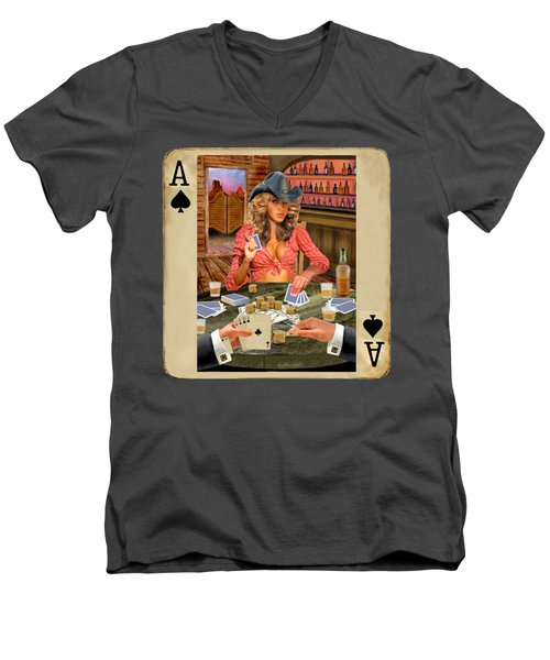 Gamblin' Cowgirl Men's V-Neck T-Shirt