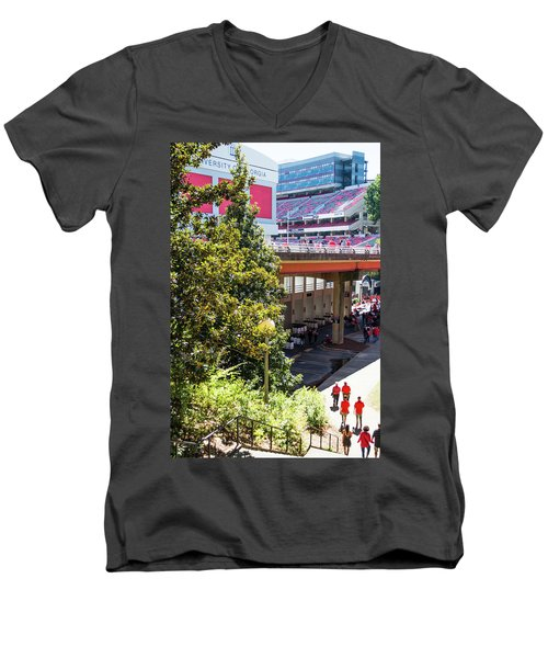 Men's V-Neck T-Shirt featuring the photograph Game Day In Athens by Parker Cunningham