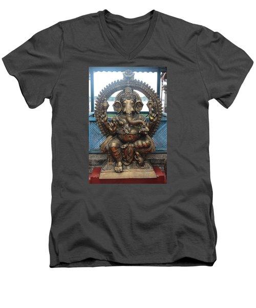 Ganapati Bronze Statue, Fort Kochi Men's V-Neck T-Shirt by Jennifer Mazzucco