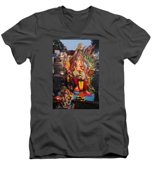 Ganesha Arati On Ganesh Chaturthi, Ganeshpuri Men's V-Neck T-Shirt by Jennifer Mazzucco