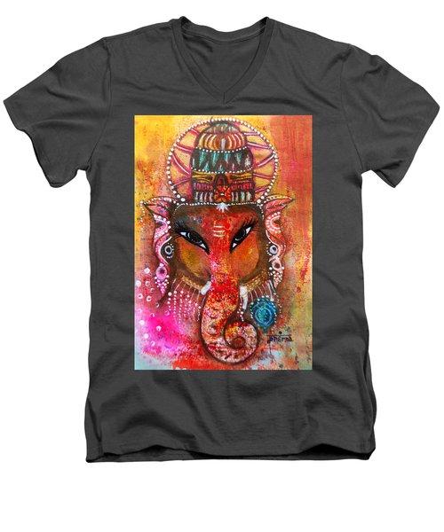 Ganesha Men's V-Neck T-Shirt by Prerna Poojara