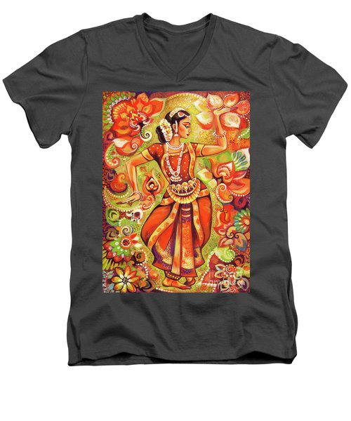 Men's V-Neck T-Shirt featuring the painting Ganges Flower by Eva Campbell