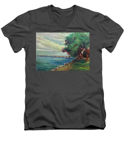 Men's V-Neck T-Shirt featuring the painting Garda Lake -lago Garda by Walter Casaravilla