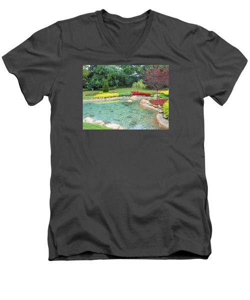 Men's V-Neck T-Shirt featuring the photograph Garden At Epcot by Kay Gilley