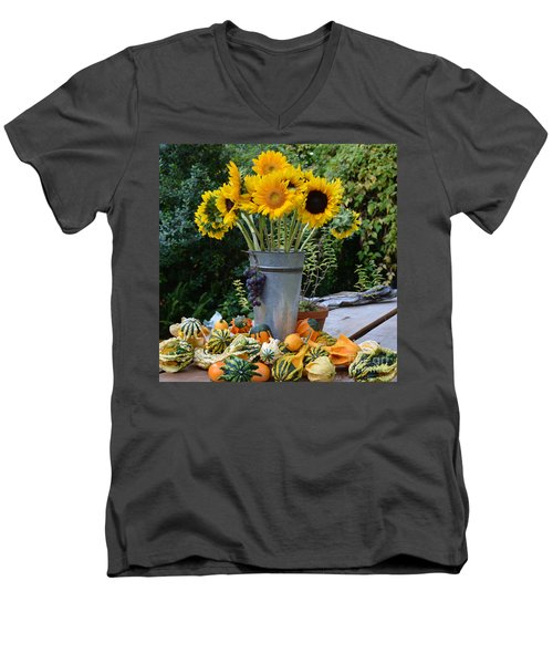Garden Bounty In Yellow And Green Men's V-Neck T-Shirt