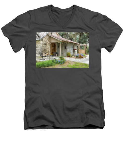 Men's V-Neck T-Shirt featuring the tapestry - textile Garden Cottage by Kathy Adams Clark