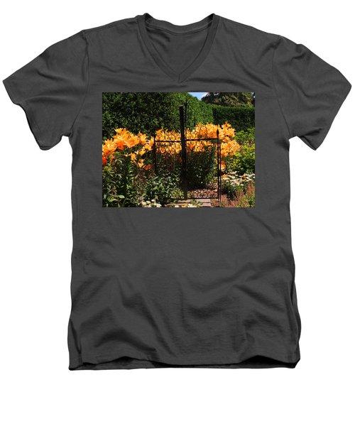 Garden Gate Men's V-Neck T-Shirt by Teresa Schomig