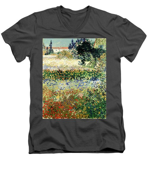 Men's V-Neck T-Shirt featuring the painting Garden In Bloom by Van Gogh