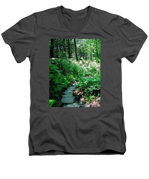 Garden In The Woods Men's V-Neck T-Shirt by Deborah Dendler