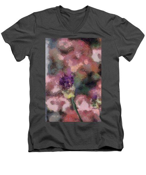 Men's V-Neck T-Shirt featuring the mixed media Garden Of Love by Trish Tritz