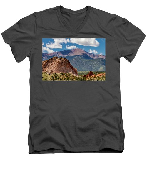 Men's V-Neck T-Shirt featuring the photograph Garden Of The Gods And Pikes Peak by Bill Gallagher