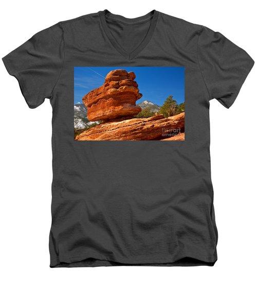 Men's V-Neck T-Shirt featuring the photograph Garden Of The Gods Balanced Rock by Adam Jewell