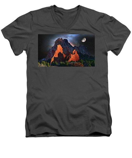 Garden Of The Gods Fantasy Art Men's V-Neck T-Shirt by John Hoffman