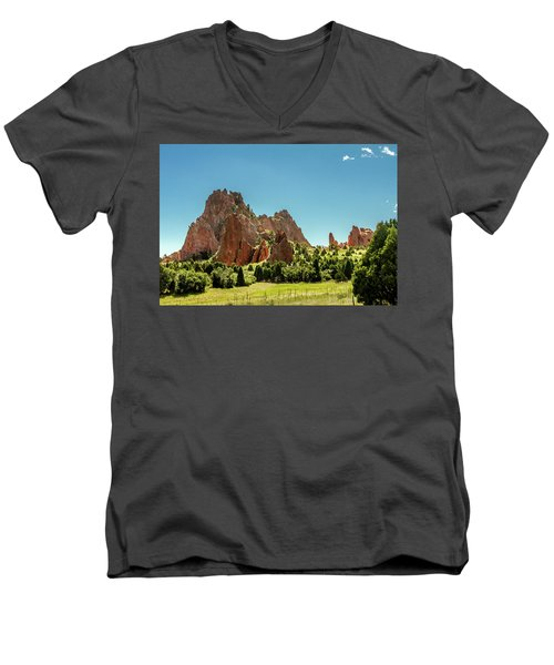 Men's V-Neck T-Shirt featuring the photograph Garden Of The Gods II by Bill Gallagher