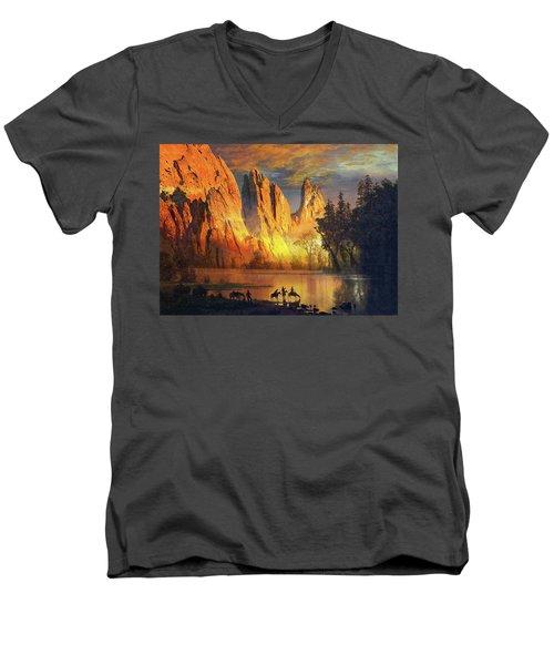 Garden Of The Gods Majesty At Sunset Men's V-Neck T-Shirt by John Hoffman