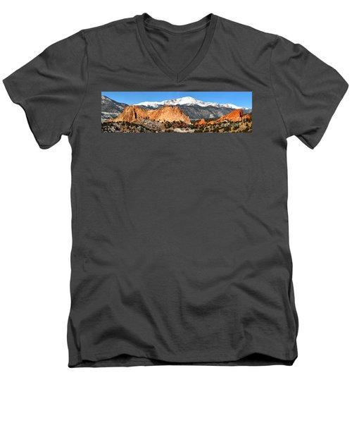 Men's V-Neck T-Shirt featuring the photograph Garden Of The Gods Medium Panorama by Adam Jewell