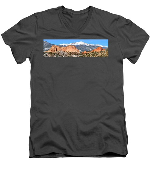 Men's V-Neck T-Shirt featuring the photograph Garden Of The Gods Panorama by Adam Jewell