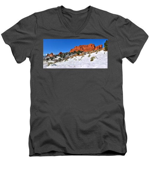 Men's V-Neck T-Shirt featuring the photograph Garden Of The Gods Red And White by Adam Jewell