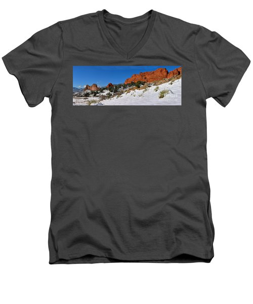 Men's V-Neck T-Shirt featuring the photograph Garden Of The Gods Snowy Blue Sky Panorama by Adam Jewell