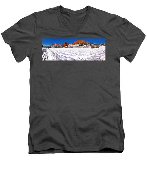 Men's V-Neck T-Shirt featuring the photograph Garden Of The Gods Snowy Morning Panorama by Adam Jewell