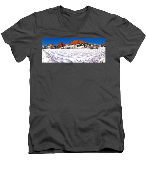 Men's V-Neck T-Shirt featuring the photograph Garden Of The Gods Snowy Morning Panorama Crop by Adam Jewell
