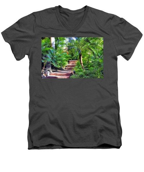 Garden Path Men's V-Neck T-Shirt by Jim Walls PhotoArtist