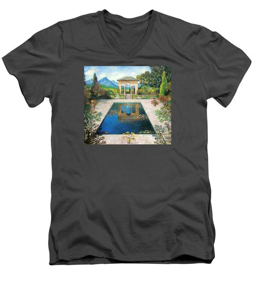 Men's V-Neck T-Shirt featuring the painting Garden Reflection Pool by Lou Ann Bagnall