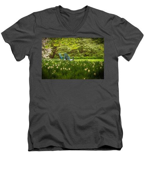 Men's V-Neck T-Shirt featuring the photograph Garden Seats by Kristopher Schoenleber