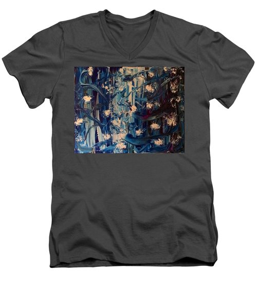 Men's V-Neck T-Shirt featuring the painting The Garden Story by Kicking Bear Productions