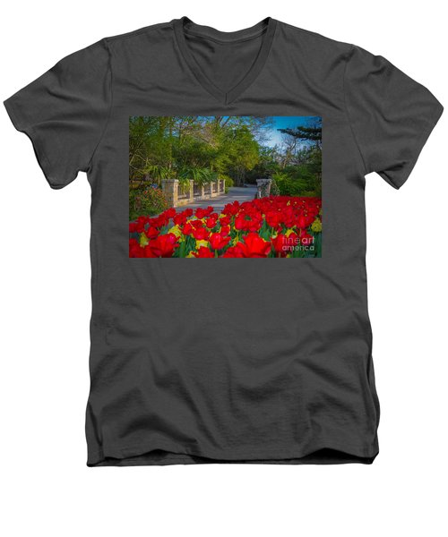 Garden Tulips Along The Trail Men's V-Neck T-Shirt