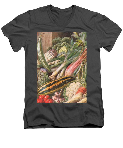 Garden Vegetables Men's V-Neck T-Shirt by Louis Fairfax Muckley