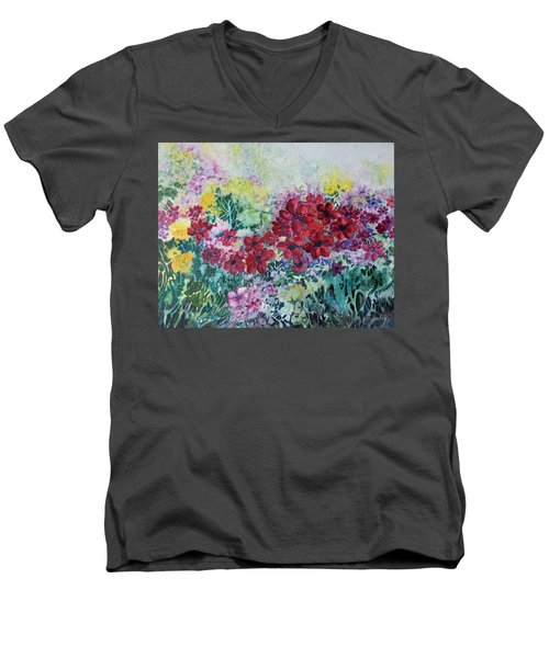 Garden With Reds Men's V-Neck T-Shirt by Joanne Smoley