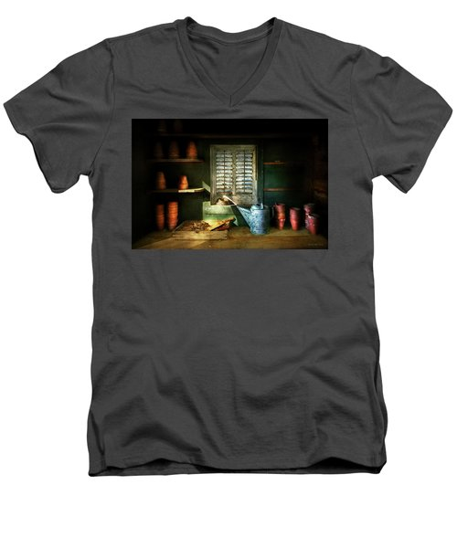 Men's V-Neck T-Shirt featuring the photograph Gardener - The Potters Shed by Mike Savad