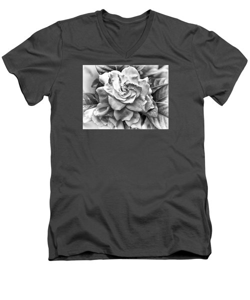 Men's V-Neck T-Shirt featuring the photograph Gardenia Black And White by Barbara Middleton