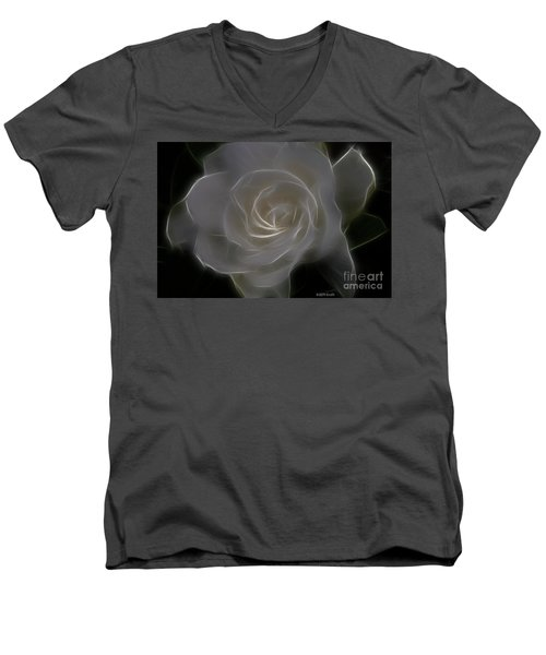 Gardenia Blossom Men's V-Neck T-Shirt by Deborah Benoit