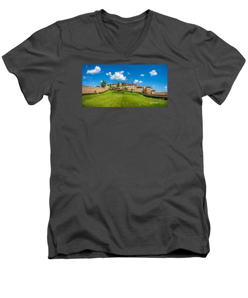 Gardens Of Assisi Men's V-Neck T-Shirt by JR Photography