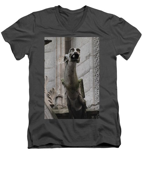 Men's V-Neck T-Shirt featuring the photograph Gargoyle Notre Dame by Christopher Kirby